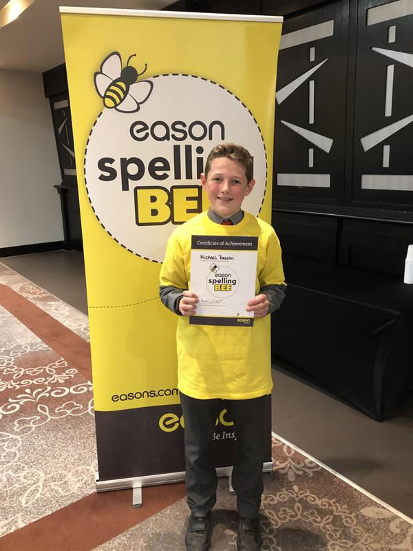 Michael Breslin does Willow Park proud at Easons Spelling Bee Competition